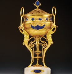 Ferdinand Barbedienne (1810-92) and Constant Sevin (1821-88). Perfume Burner, Ca. 1880. French, gilt-bronze and lapis-lazuli. 61 cm. Inv. #275