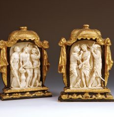 Pair of Ivory Reliefs. Italian, Ca. 1700. Gilt-wood frames. 22cm. Inv. #357