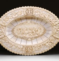 Sideboard Charger. German, Ivory, Ca. 1880. Banquet of the Gods. 51 x 71 cm. Inv. #347