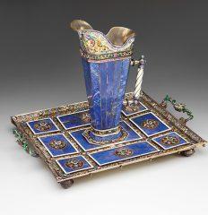 Hermann Bohm ( 1866-1922). Ewer and Tray. Ca. 1880-1900. Lapis-lazuli, silver-gilt, semi-precious stones. Austrian. 19.5 cm.  Inv. #543