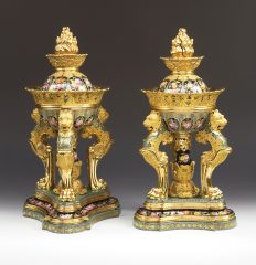 Jacob Petit ( 1796-1868). Pair of Perfume Burners, Ca. 1835. Porcelain. 49.5 cm. French. Inv. #273