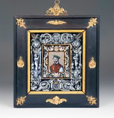 Charles Dotin (active 1844-89). Enamel plaque in wood frame. French, Dated 1876. Depicting King Henri II. Inv. #198