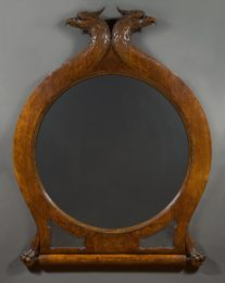A Large Very Finely Carved Circular Oak Mirror Surmounted By Addorsed Eagle Heads With Talon Feet Clasping A Scroll