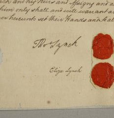 Thomas Lynch Jr – Strong signature on real estate document by this rare Signer of the Declaration, 1777.