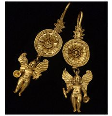 Hellenistic gold Eros earrings. 4th – 3rd Centuries BC.