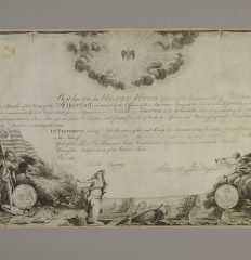 George Washington – Society of Cincinnati membership diploma signed by him,  1787.
