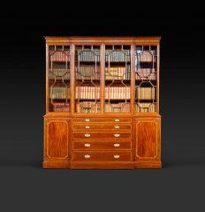 Fine George III Mahogany Breakfront Bookcase, circa 1790