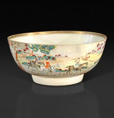 Chinese Export Foxhunting Punch Bowl, circa 1760