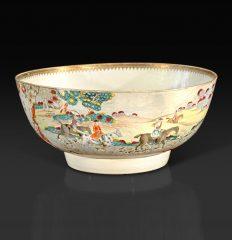 Chinese Export Foxhunting Punch Bowl, circa 1760