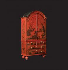 Queen Anne Red-Japanned Cabinet On Chest, circa 1710