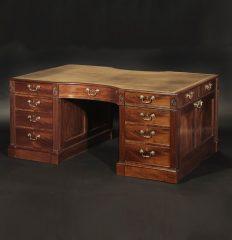Fine George III Mahogany Partner's Pedestal Desk, circa 1800