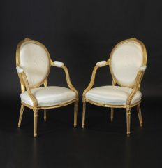 Fine Pair of George III Giltwood Armchairs, circa 1790