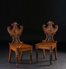 Pair of George IV Mahogany Hall Chairs, circa 1835