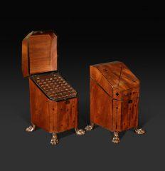 Pair of Regency Mahogany and Ebony-Inlaid Knife Boxes, circa 1815
