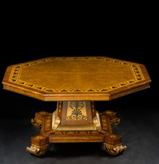 Regency Burr Elm & Rosewood Crossbanded Octagonal Center Table in the Manner of Thomas Hope, circa 1820