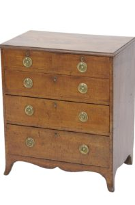 George III Fiddleback Mahogany Small Chest of Drawers, c. 1790