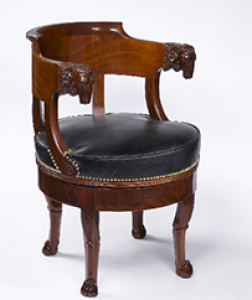 French Empire Period, Mahogany Fauteuil de Bureau à Assise Tournante Attributed to François-Honoré-Georges Jacob-Desmalter
