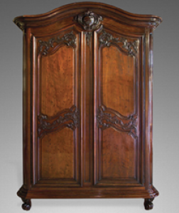 French Louis XV Period, Solid Mahogany, Bordelais Armoire