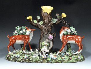 ny8182-2-good-rare-staffordshire-pearlware-double-deer-park-spill-vase-group