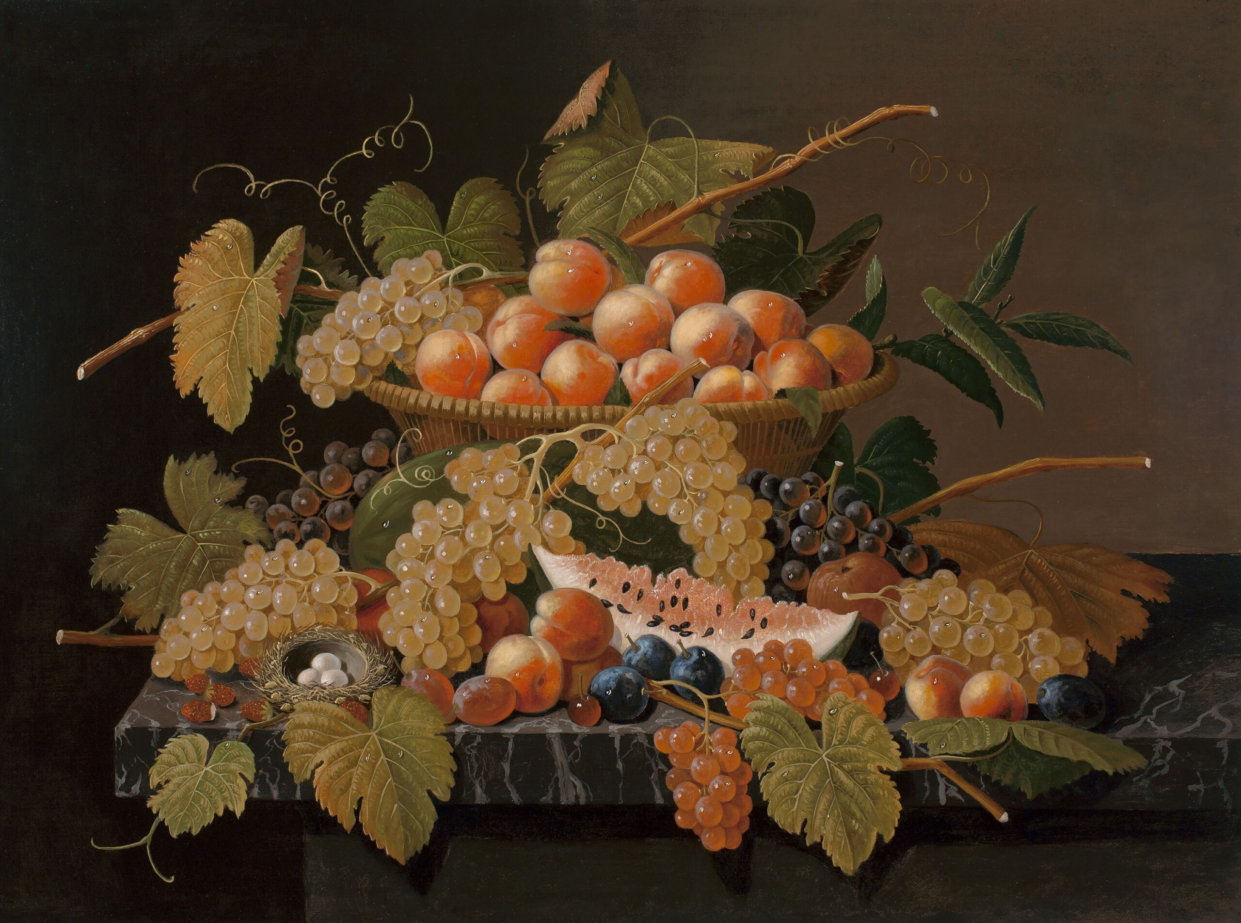 Roesen_ Still Life with Fruit and a Bird's Nest_c2