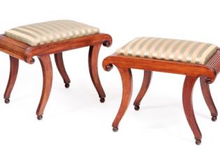 Set of Four English Regency Upholstered Mahogany Stools
