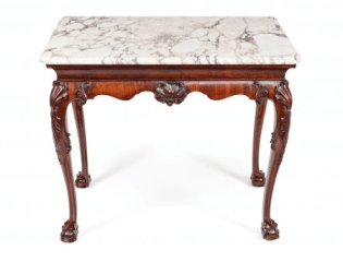 18th Century Irish Console Table with Original Shaped Marble Top