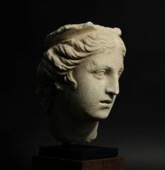 roman marble head of a goddess