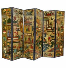 Dutch-Leather-Chinoiserie-Decorated-Six-Panel-Screen