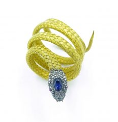 Tiffany yellow gold, diamond, and sapphire snake bracelet.