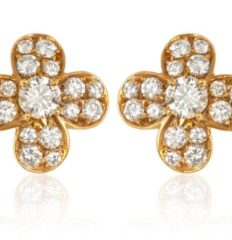 Van Cleef & Arpels fleurette earrings with diamonds