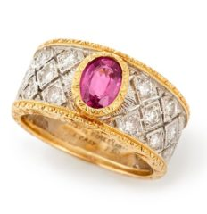 Buccellati pink sapphire and diamond ring