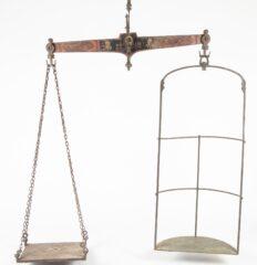 Antique English Painted Cast Iron Jockey Scale
